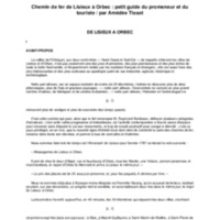 Chemin de fer de Lisieux à Orbec : petit guide du promeneur et du touriste / par Amédée Tissot