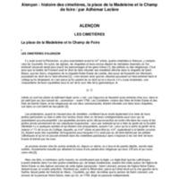 Alençon : histoire des cimetières : la place de la Madeleine et le Champ de foire