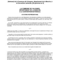 [Adresse] de la Commune de Valognes, département de la Manche, à la Convention nationale, [26 germinal an 3]