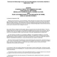 Concours de labourage et prix pour les domestiques et servantes attachés à l'agriculture, 1838 / Société d'agriculture et de commerce de Caen